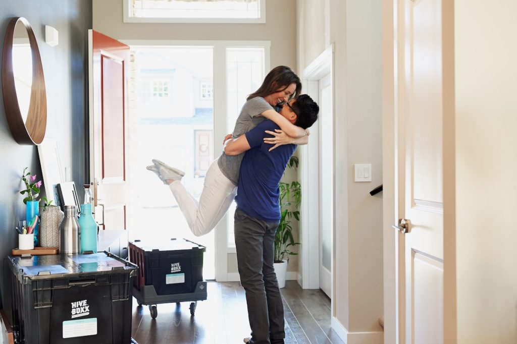 Couple during time to move